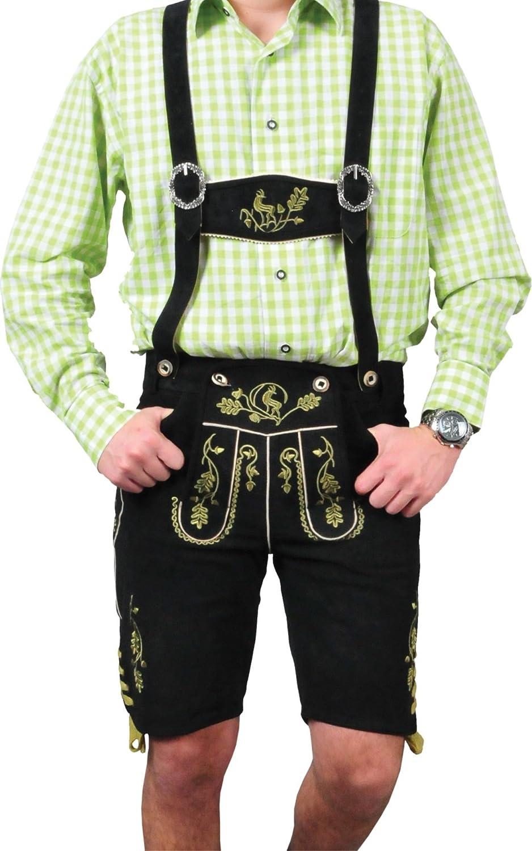 Erstklassige echt Leder bayerische Trachten Lederhose Herren kurz, Damen Trachtenlederhose aus Wildbock mit Träger in Schwarz