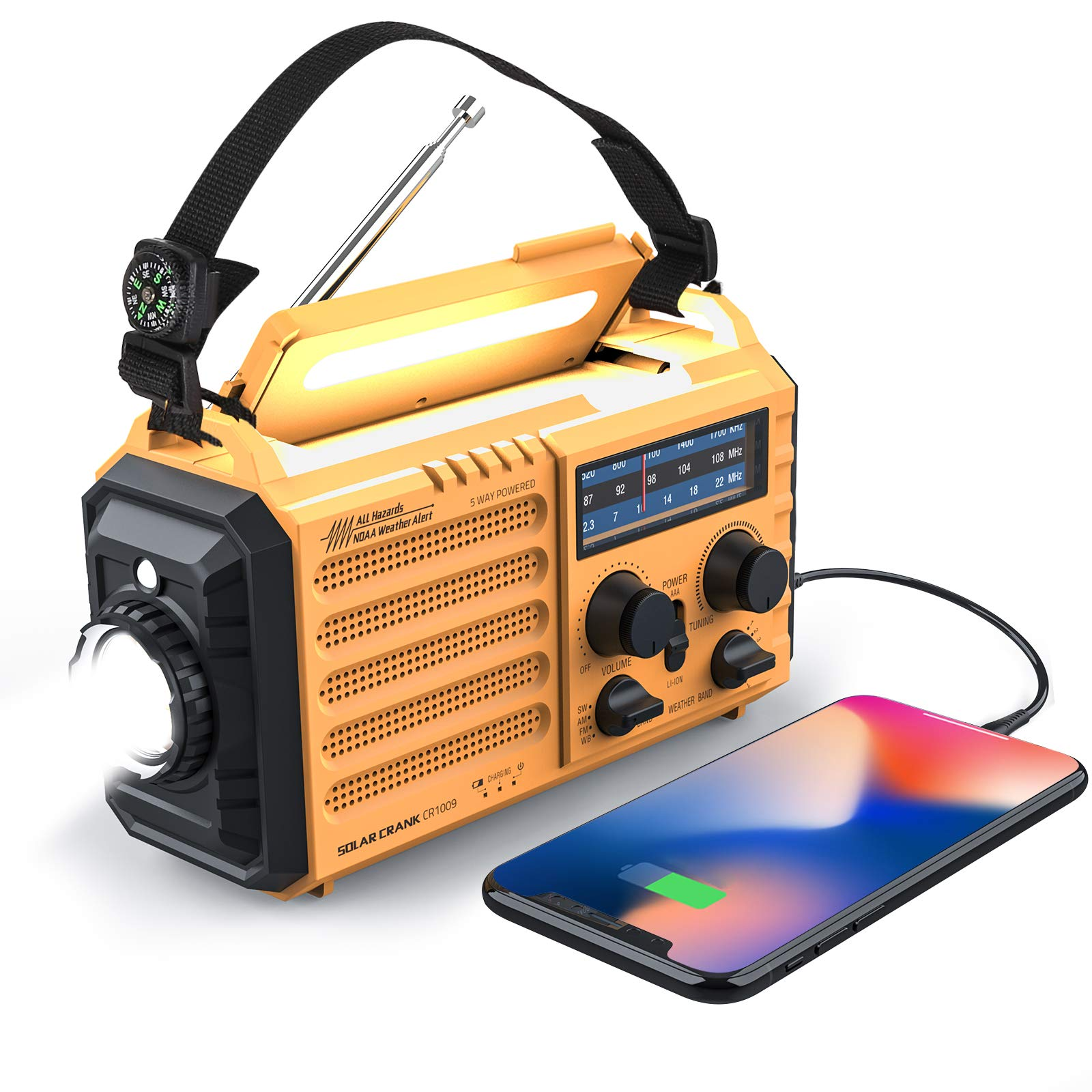 Weather Radio Raynic Solar Hand Crank Emergency Radio 5 Ways Powered AM/FM/SW/NOAA Weather Alert Portable Radio with Flashlight, Reading Lamp, Cellphone Charger and SOS Alarm (Yellow) by Raynic
