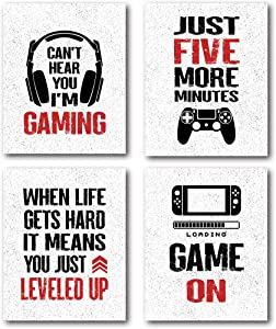 XUWELL Funny Quotes Just Five More Minutes Gamer Wall Art Prints Poster, Black and Red Video Game Posters for Boys Dorm College Playroom Game Room Decor, 8 x 10 Inch Set of 4 Prints, Unframed