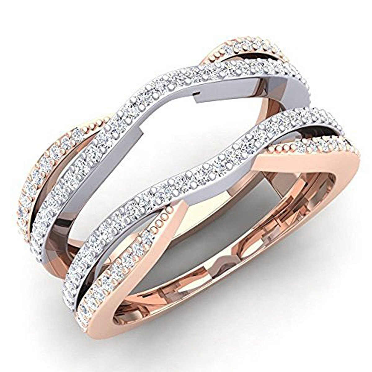 Jewelryhub 0.50 Ctw 14K White & Rose Gold Two-Tone Plated Round Cut White CZ Diamond Ladies Anniversary Wedding Band Enhancer Guard Double Chevron Ring (5.5) Alloy