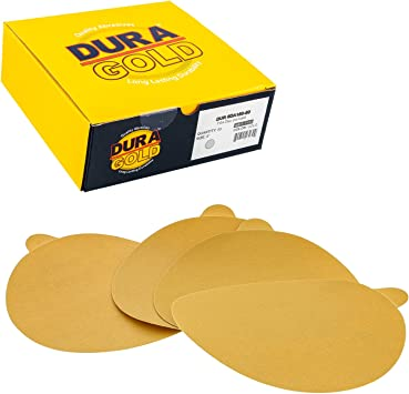 100 Pack 320 Grit 6 Inch Discs On a Roll PSA Gold Sticky Back DA Sanding Paper