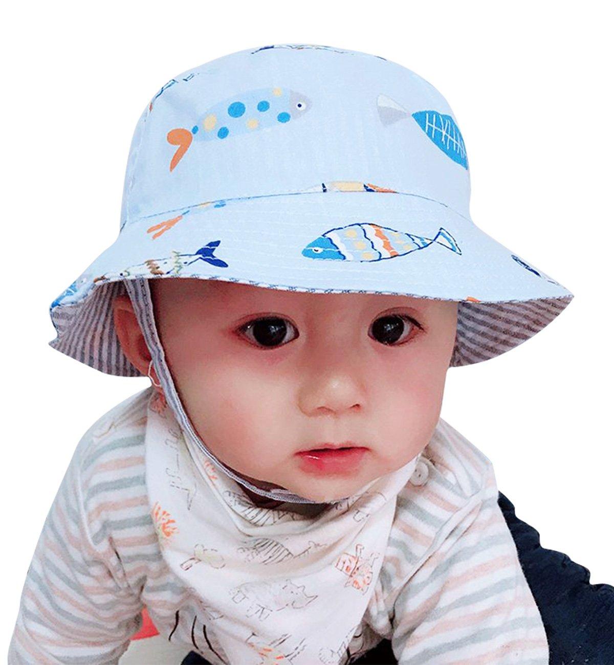 Sumolux Toddler Boy Bucket Hat Fish Pattern Summer Sun Hat with Chin Strap