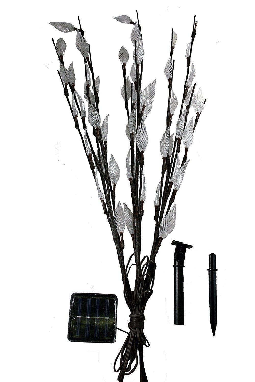 White Set of 3 Stylish Ornamental Branch Tree Leaf Solar Outdoor Garden Lights