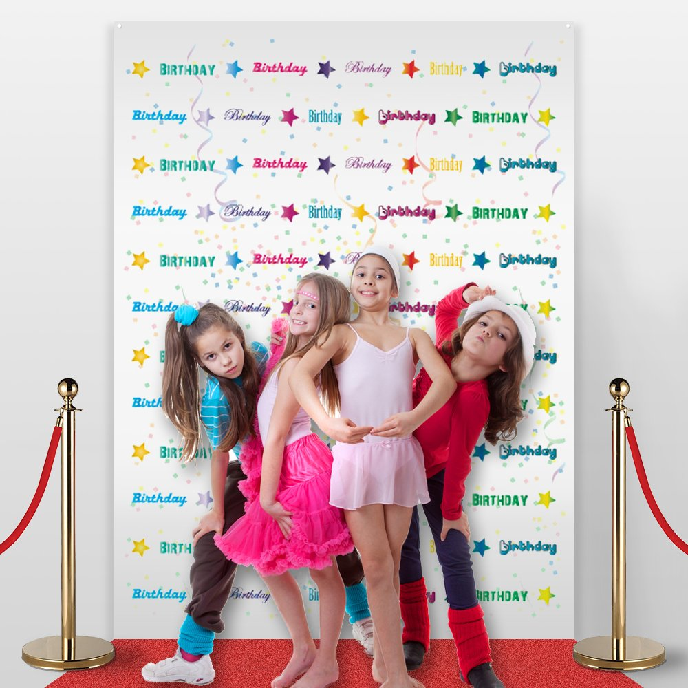 No-wrinkle,Fabric,Seamless,Foldable Banner,Non-Glare 7/' Tall and 5/'3 Wide 7 Tall and 53 Wide Made in USA Made in USA Non-Glare Birthday Photo Backdrop,Party accessory Step and Repeat LA