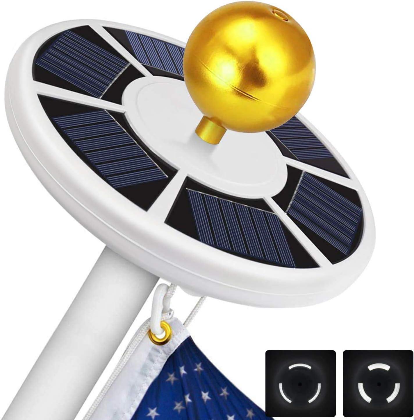 Solar Flag Pole Light 111 led Light, Super Bright Flag Pole LED, Solar Powered Flag Pole Lights for Longest Lasting Upto 10 Hrs, LED Downlight up Flag on Most 15 to 25Ft 100% Flag Coverage LED(White)