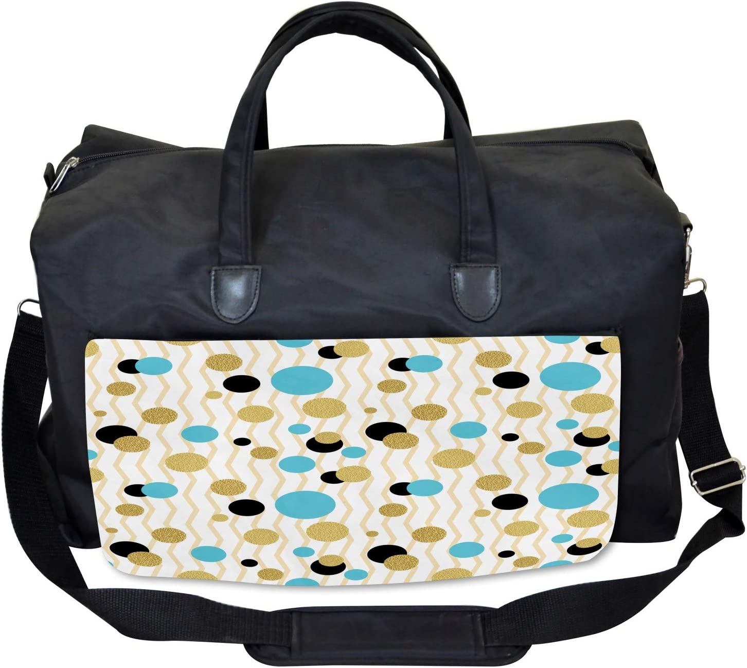 Large Weekender Carry-on Trippy Geometric Round Ambesonne Abstract Gym Bag