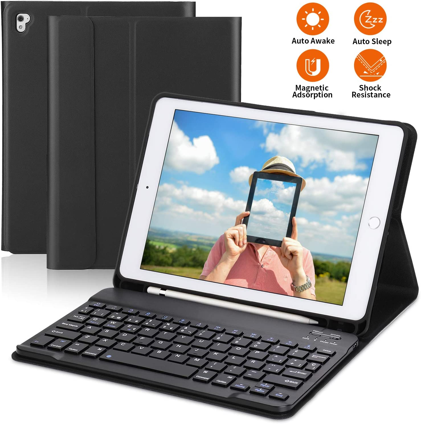 PEYOU Teclado para iPad 2018, Funda con Teclado Español Bluetooth Inalámbrico, para iPad 9.7/Pro 9,7/Air 2/1/2018 (6th Gen)/ 2017, con Ranura para Apple Pencil, Smart Auto Sleep-Wake, Desmontable