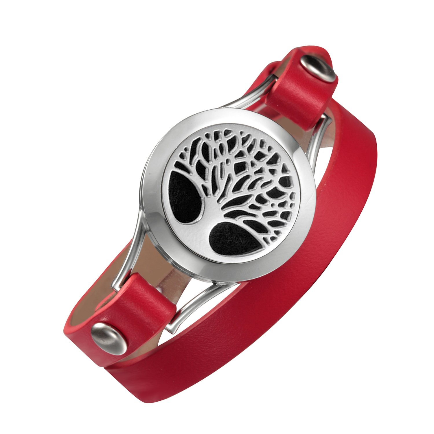 EVERLEAD Carving Round Aromatherapy Essential Oils Diffuser Locket Bracelet 316l Stainless Steel Real Leather Bracelet (Style 7 (Red Band))