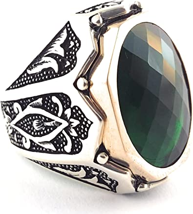 Faceted Black CZ Stone 925 Sterling Silver Turkish Handmade Men/'s Ring All Sizes