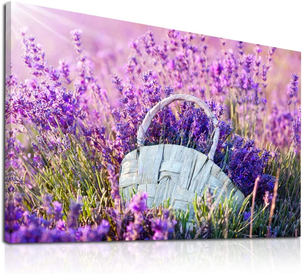 Canvas Wall Art For Kitchen Dining Room Family Wall Decor For Bedroom Flowers Canvas Pictures Bathroom Artwork Purple Lavender Paintings Modern Office Wall Art Farmhouse Home Decorations 12 X 16 Inch