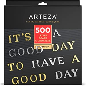 Arteza Felt Letter Board Letters, Set of 500 Letters, Numbers, Symbols, Gold & Silver, 1 inch, for Signs, Message Boards at Cafes, Offices, Schools, Restaurants, or Home