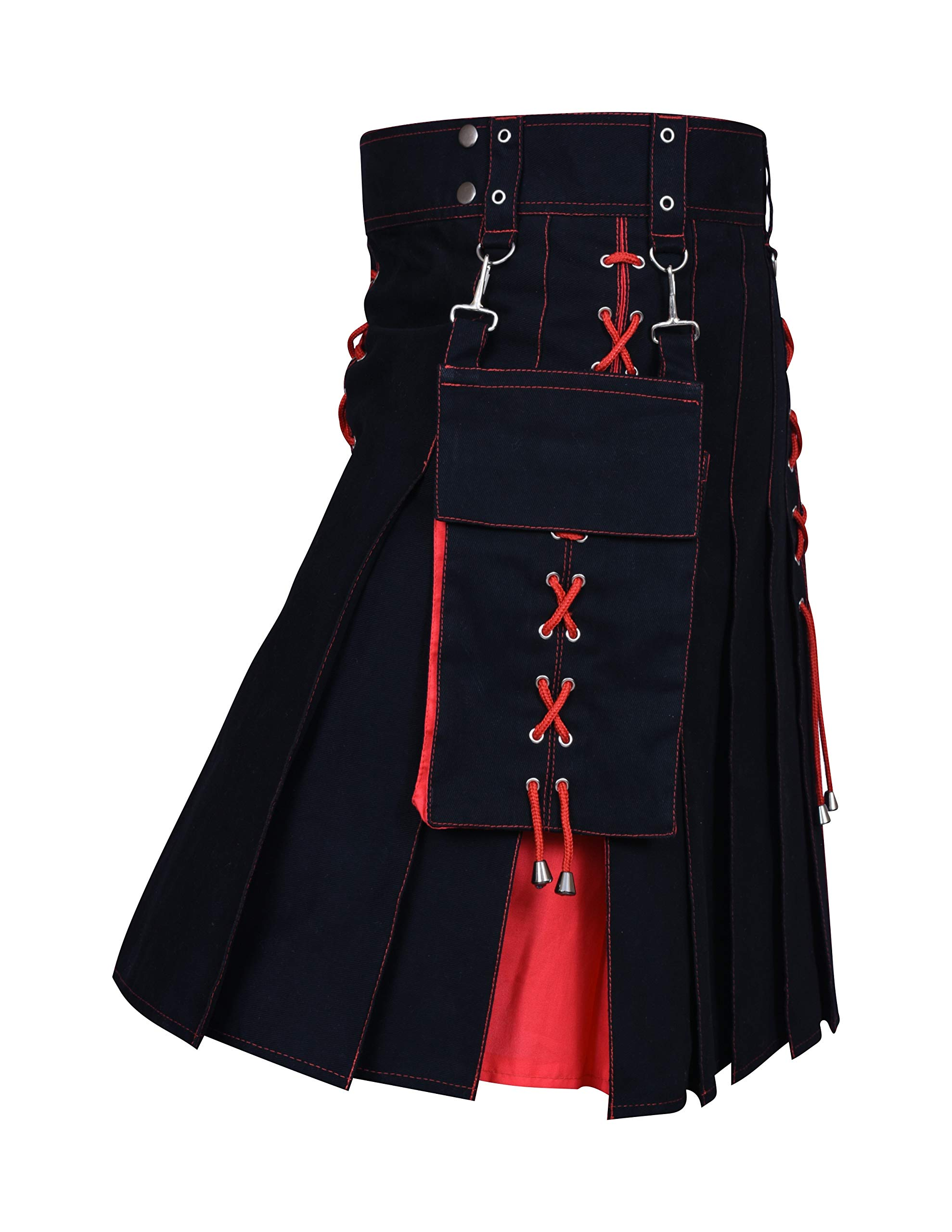 Utility Kilt Black and Red Hybrid Kilt New For Men's (40, Black/Red)