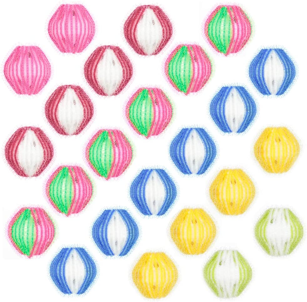 Uspeedy- 24 Pieces Pet Hair Remover Reusable Hair Dryer Ball Pet Washing Balls Lint Remover Balls for Laundry Washing Machine Supplies (Bright Color)