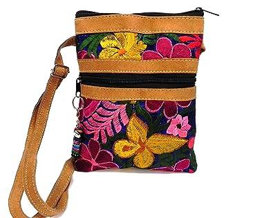 449a55856b6 Tan Vegan Leather Multicolored Embroidered Floral Slim Fashion Travel Purse  Bag Zipper Worry Doll Adjustable Crossbody Strap (Blue)  Handbags   Amazon.com