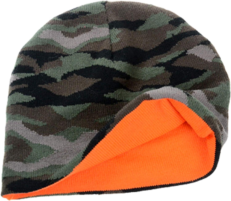 Chaud Casquette Cadeau pour Un Chasseur Orange Camouflage Couleur-Alerte Bonnet Laine Hiver Ski Bonnet de Chasse Reversible Battue Traque Rabatteur Traqueur Beanie Homme-s Femme-s