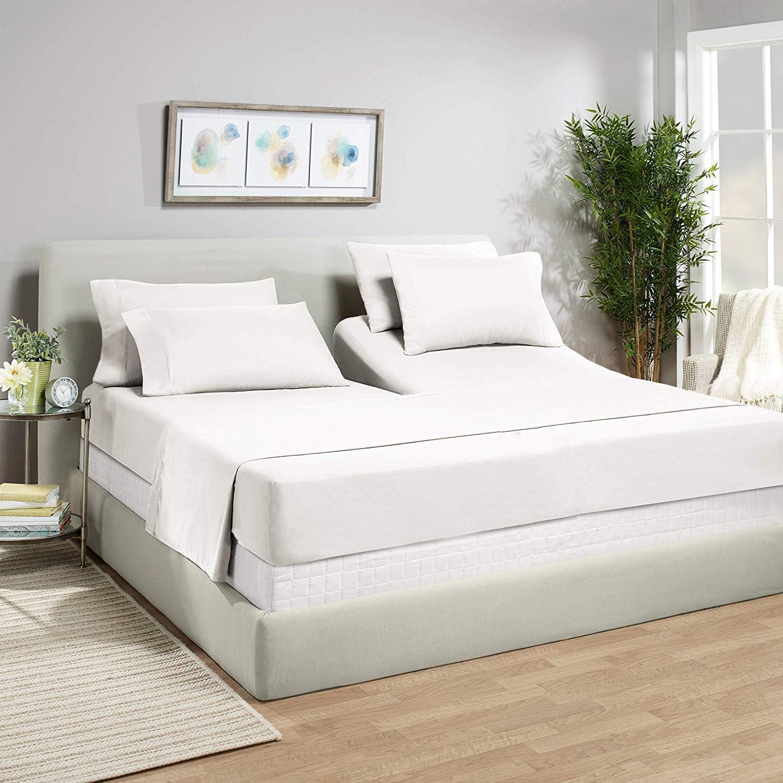 Light Blue Stripe Adjustable Split Sheet Set Size Soft Cozy 1000 TC 100/%Cotton