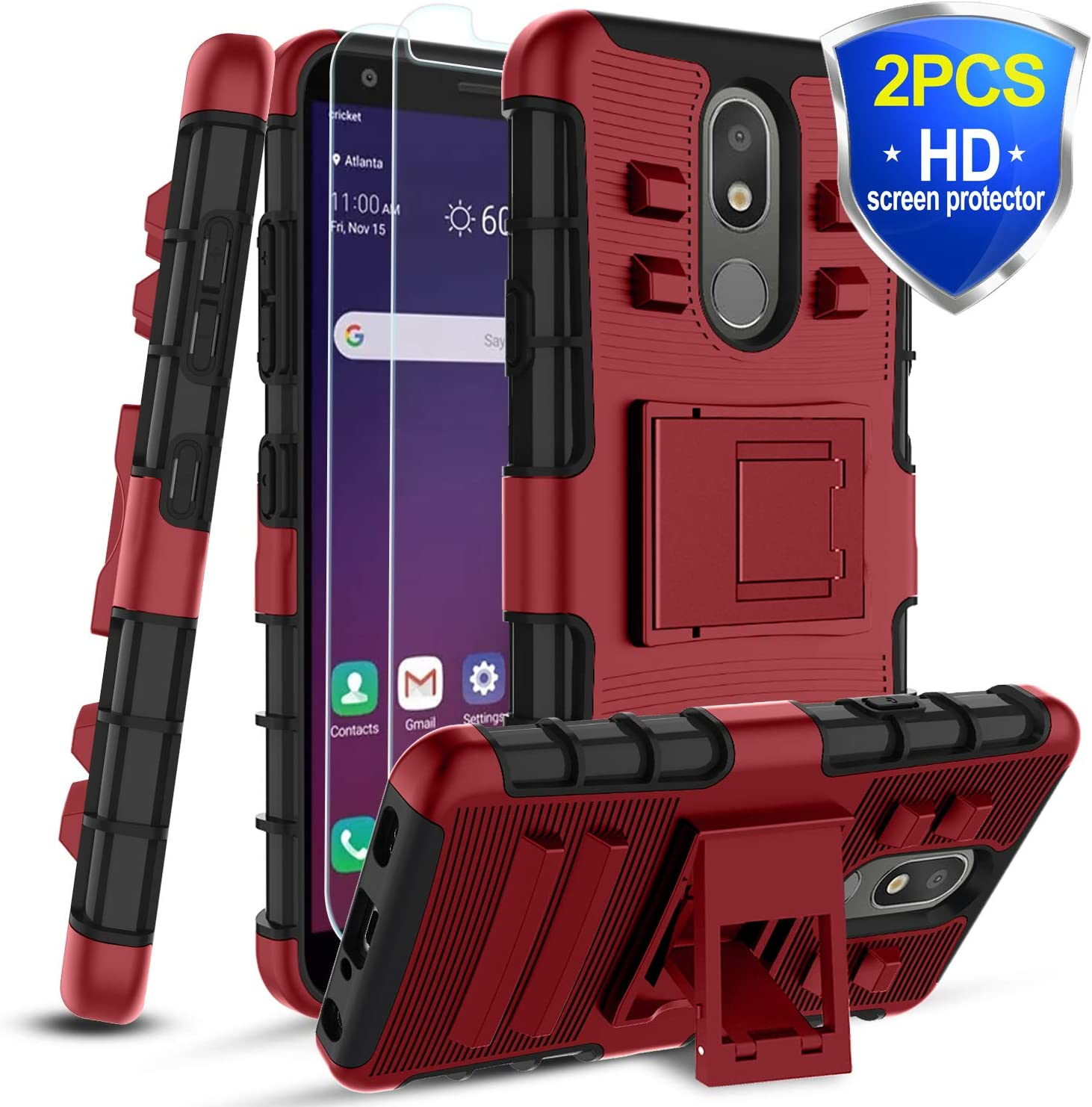 Alleta LG Aristo 4+Case,LG Aristo 4 Plus/K30 2019/Journey LTE/Escape Plus/Arena 2/Tribute Royal/Prime 2 Case w/2 PCS Sreen Protector&Kickstand,[Skockproof] Dual Layer Protective Phone Cover,PC-Red