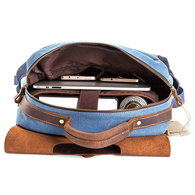 Amazon.com: Vintage Leather Canvas Backpack, Retro Canvas Campus School Rucksack Fits 15.6 inch Laptop Backpack, Blue: Computers & Accessories