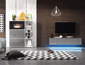 Erstaunlich Wohnwand MIT BIOKAMIN Lowboard TV Schrank Sideboard Wohnzimmer Set FREYA  (Weiß Matt / Grau Hochglanz
