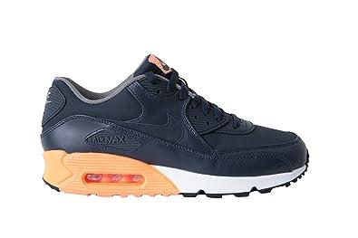 7e66ae69e8 Nike Air Max 90 Premium Obsidian Leather Shoe 333888 402 Black Orange  Trainers for Men