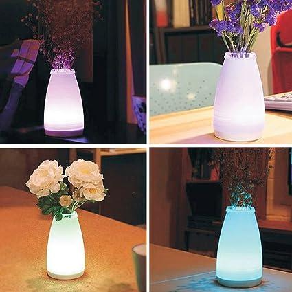 Homdox jarrón lámpara de mesa LED noche luz flor luz nocturna regulable atmósfera lámpara de sobremesa para dormitorio sala de estar, comedor cafetería ...