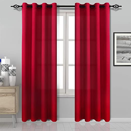 Amazon Com Dwcn Red Curtain Faux Linen Country Modern Style Draperies 8 Grommets Window Curtain Panel 52x84 Inch Set Of 2 Panels Curtains For Bedroom Kitchen Dinning Room Living Room Home Kitchen