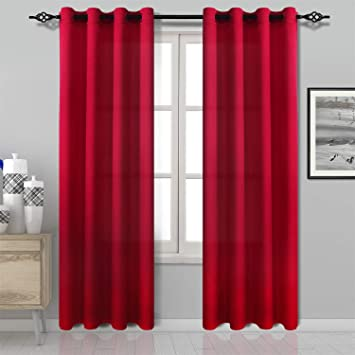 DWCN Red Curtain Faux Silk Country Modern Style Draperies 8 Grommets Window  Curtain Panel 52x84 inch (Set of 2 Panels) Curtains for ...