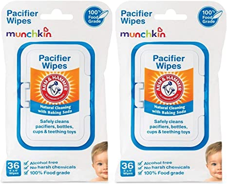 Munchkin Pack Arm and Hammer - Toallitas para chupete, Blanco, 36 Count (Pack of 2): Amazon.es: Bebé