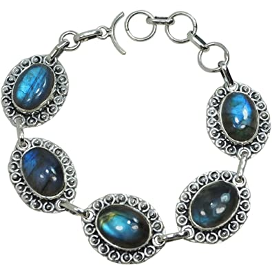 CZgem 925 Sterling Silber Labradorit Armband – Natur Mondstein Armband  Jewelry Olive Form für Frauen bc1fc71d67