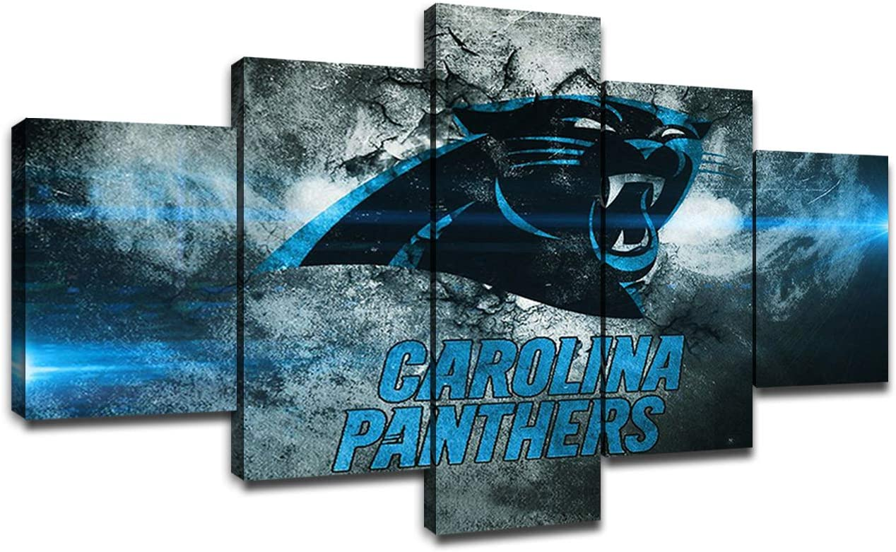 Carolina Panthers Team Logo Wall Decor Art Paintings 5 Piece Canvas Picture Artwork Living Room American Football Prints Poster Decoration Wooden Framed(60''Wx32''H)