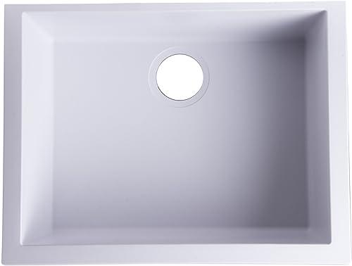 ALFI brand AB2420UM-W Undercount Single Bowl Granite Composite Kitchen Sink, 24 , White