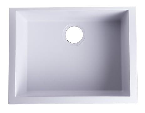 "ALFI brand AB2420UM-W Undercount Single Bowl Granite Composite Kitchen Sink,  24"","