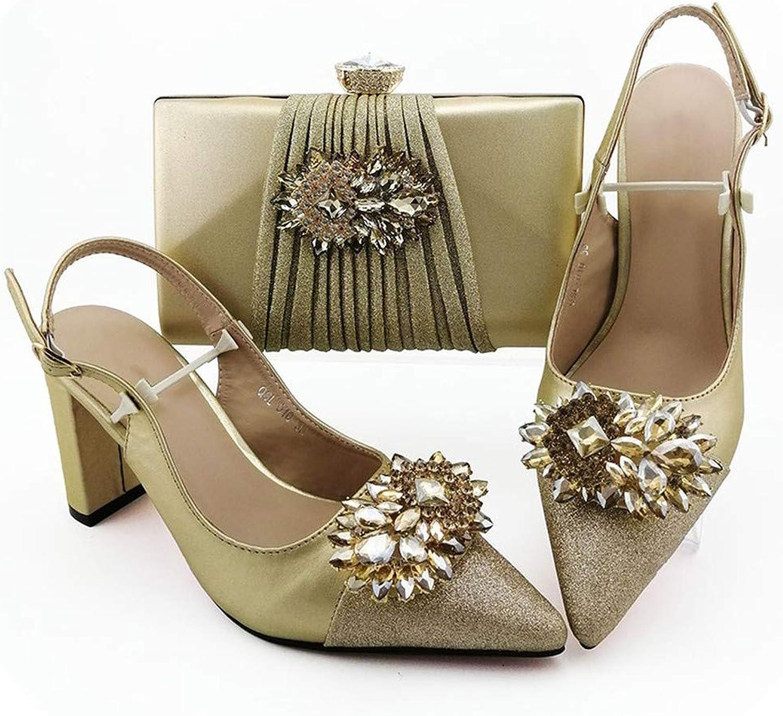 2019 - Juego de Zapatos y Bolsos para Mujer africanos de Color Plateado Italiano con Bolsas a Juego, cómodos Tacones para Mujer Dorado