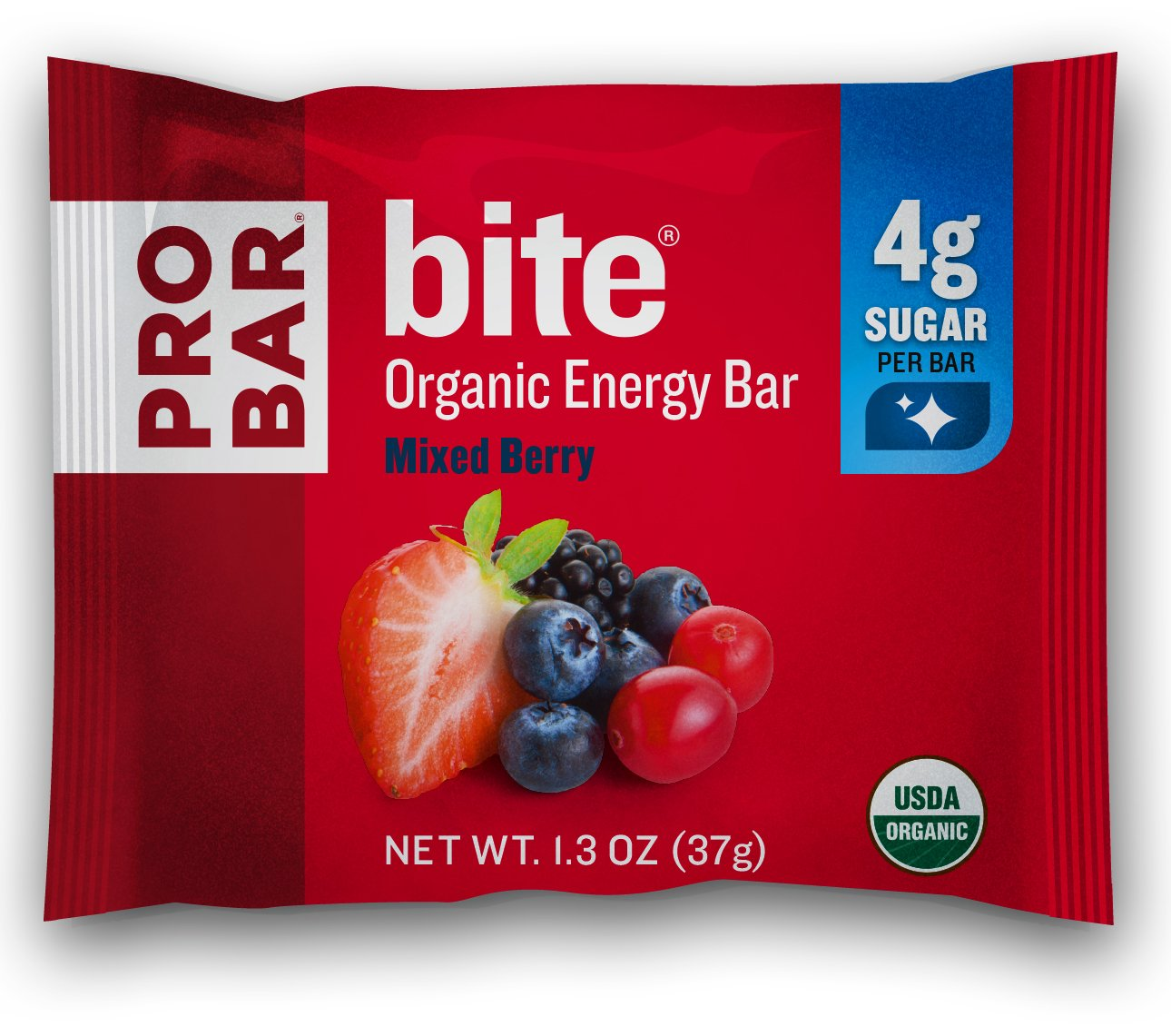 PROBAR - bite Organic Energy Bar - Mixed Berry - USDA Organic, Gluten-Free, Non-GMO Project Verified, Plant-Based Whole Food Ingredients, 4g Protein - Pack of 12