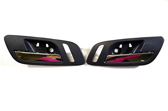 PT Auto Warehouse CH-2815MG-DP Left//Right Pair Inner Interior Inside Door Handle Gray Housing with Chrome Lever
