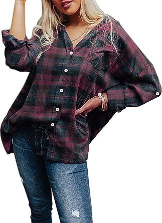FOBEXISS Blusa casual de franela de manga larga a cuadros con ...