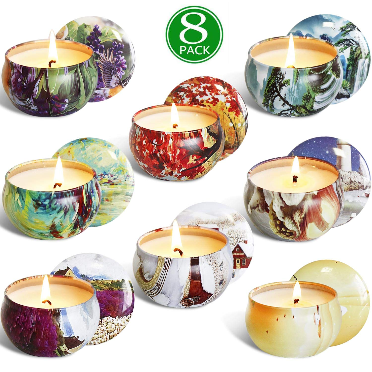YIIA Scented Candles Gift Set -Lemon, Lavender, Mediterranean Fig,Bergamot,Vanilla,Jasmine,Rose and Spring, Candle Soy Wax for Stress Relief and Aromatherapy, Candles - 8 Pack by YIIA