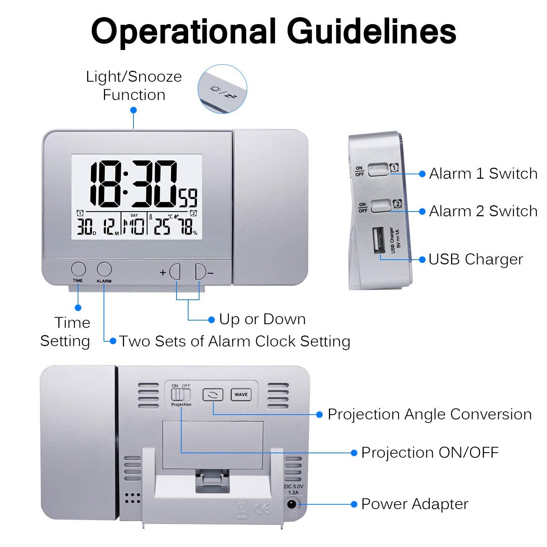 HITECHLIFE Display a LED Proiettore Orologio con retroilluminazione Snooze Sveglia Ora Temperatura umidit/à Data Decorazione Camera da Letto casa