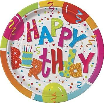 Plato de papel de fiesta Jamboree, cumpleaños, 18 cm, 8 ...