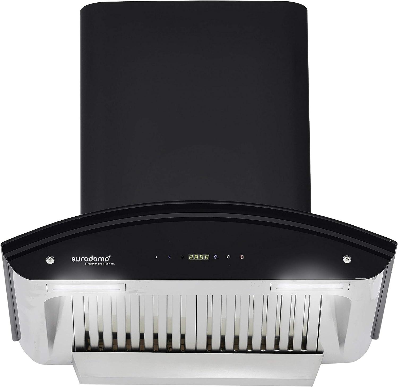 Eurodomo 60 cm 1200 m3/h Auto-Clean Chimney (Prime HC TC BK 60, Black)