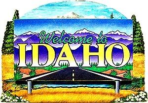 Idaho State Welcome Sign Wood Fridge Magnet