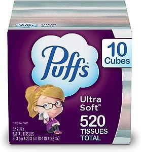 Puffs Ultra Soft Non-Lotion Facial Tissues, 10 Cubes, 52 Tissues Per Box (520 Tissues Total)
