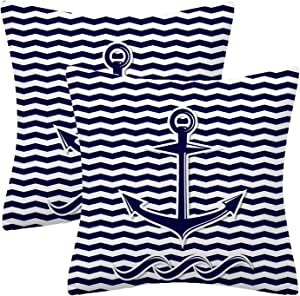 Chilltreads Set of 2 Polyester Decorative Pillow Covers, Abstract Anchor Symbol Square Throw Pillow Covers Set Cushion Case, for Sofa Bed Chair Car Home Decor 18x18 Inch