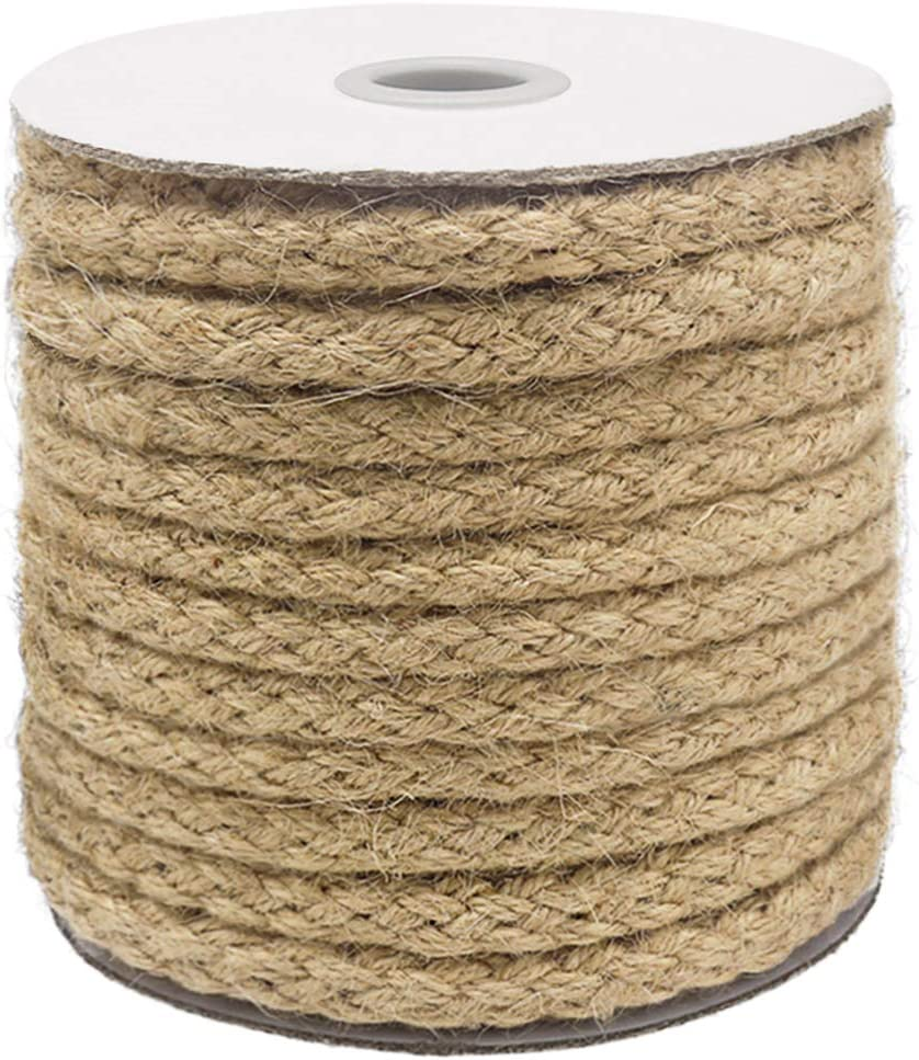 Vivifying 8mm Jute Rope, 52 Feet Natural Braided Jute Macrame Cord for Garden, Gifts, DIY Crafts