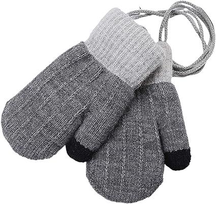 Kinnart Kids Gloves with String Baby Boys Girls Mittens Hanging Neck Full Finger Gloves Warm Gloves Black Toddler Stretch Winter Warm Mittens