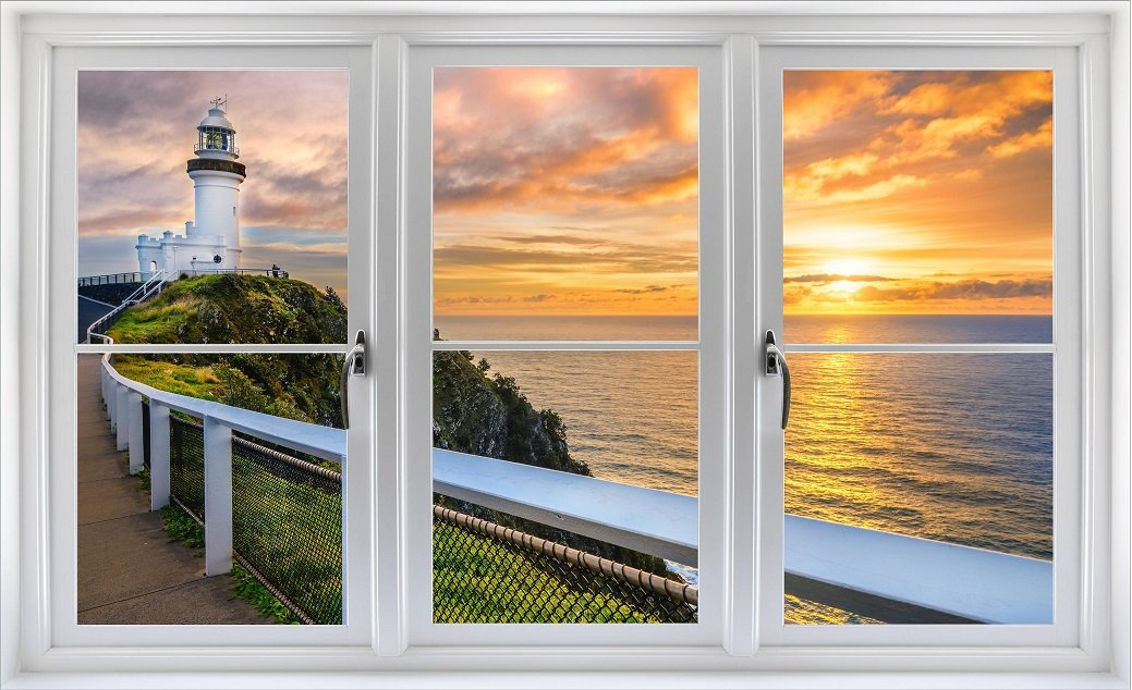 24'' Window Landscape Scene Instant Nature View AUSTRALIA LIGHTHOUSE SUNSET #1 WHITE CLOSED Wall Sticker Room Decal Home Office Art Décor Den Mural Man Cave Graphic SMALL
