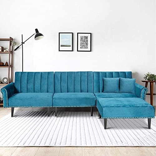Velvet Sectional Sofa Sleeper Bed,JULYFOX 118 inch Channel Tufted Convertable L-Shaped Couch Sofa Futon Chaise W/Bronze Nail Head Trim