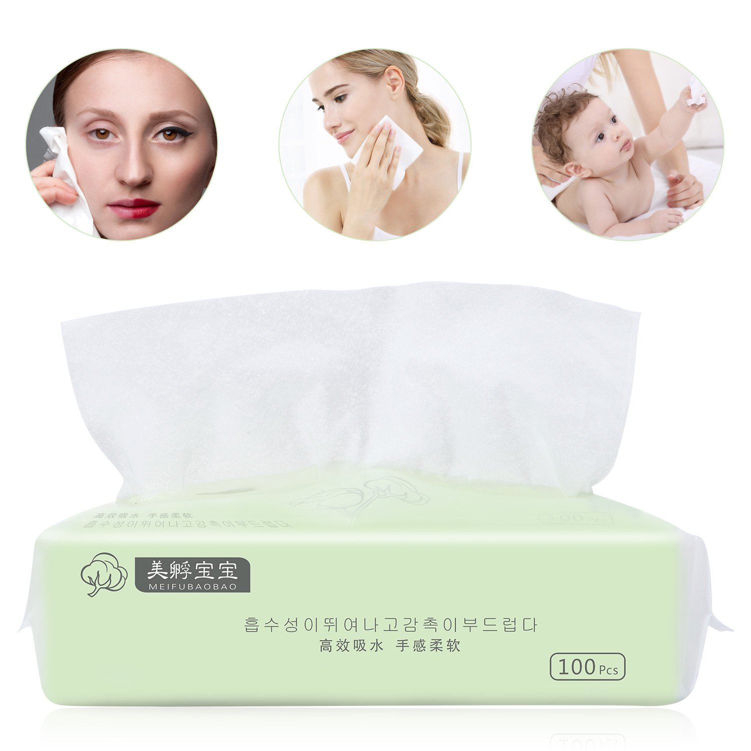 100% Organic Cotton Facial Tissue - Soft&Lint Free Cotton Pad Large (200 x 200 mm) for Removing Face Eye Heavy Makeup, Nail Polish and baby's Delicate Skin Care - Pack of 100pcs.