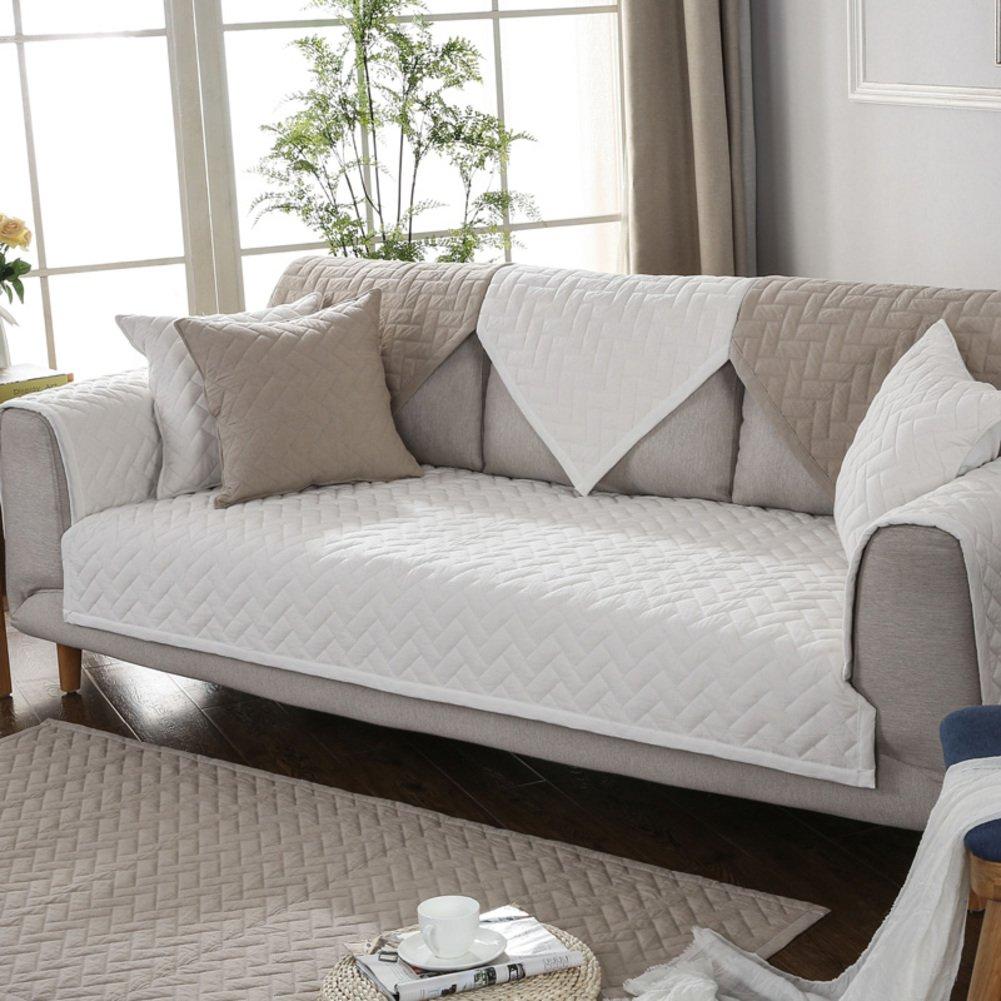 HMWPB Baumwoll-Sofa Cover Cover Cover slipcover, Anti-rutsch sofabezug für sectional Sofa möbel Sofa beschützer für 2 gesteppt,3 Kissen Couch -Khaki 90x180cm(35x71inch) a9f4c8