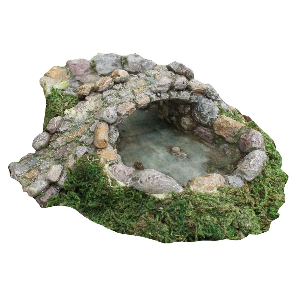 TG,LLC Treasure Gurus Miniature Fairy Garden Stone Pond and Bridge Ornament Dollhouse Decor Accessory